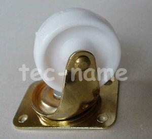 2 Mobelrollen Lenkrollen 40 Mm Transportrollen Gold Messing Weiss Ebay