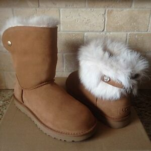 261f98bf1d2 Details about UGG VALENTINA SWAROVSKI BLING CHESTNUT TOSCANA CUFF BOOTS  SIZE US 8 WOMENS NEW