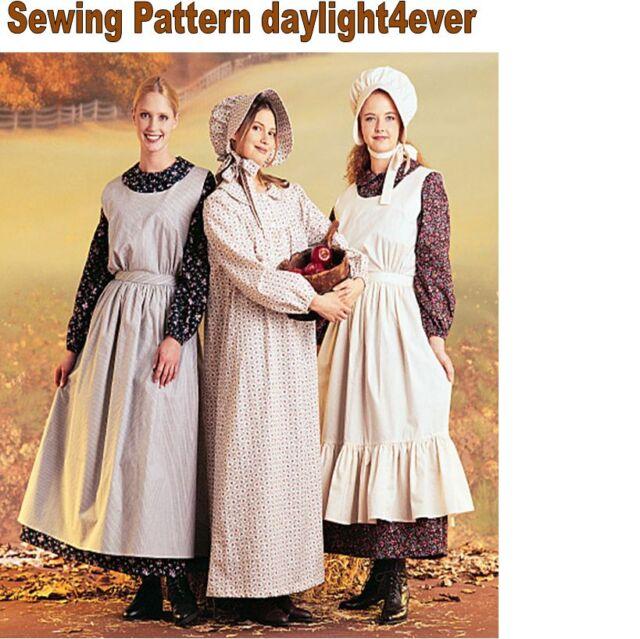 Woman Western Pioneer Dress Apron Bonnet Mccall\'s 7220 Sewing ...