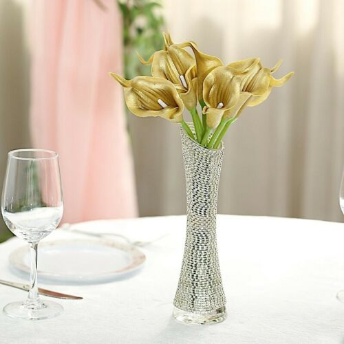 """10 GOLD 14/"""" tall Poly Foam Calla Lily Flowers Single Stems Party Centerpieces"""