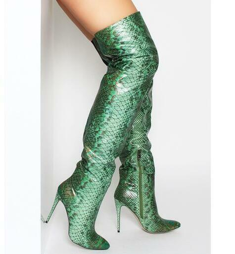 Women's Snakeskin Leather Over the Knee Riding Boots Pointed Toe High Heels Club