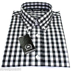 Relco Mens Black & White Checkered 9mm Short Sleeved Shirt Mod ...