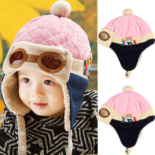 Boys Girl Kids Baby Winter Warm Cap Hat Beanie Pilot Aviator Crochet Earflap L