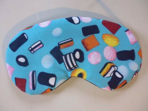 EYE SLEEP MASK Soft Comfy Cool Blackout Holiday Travel Migraine Aid ~Handmade