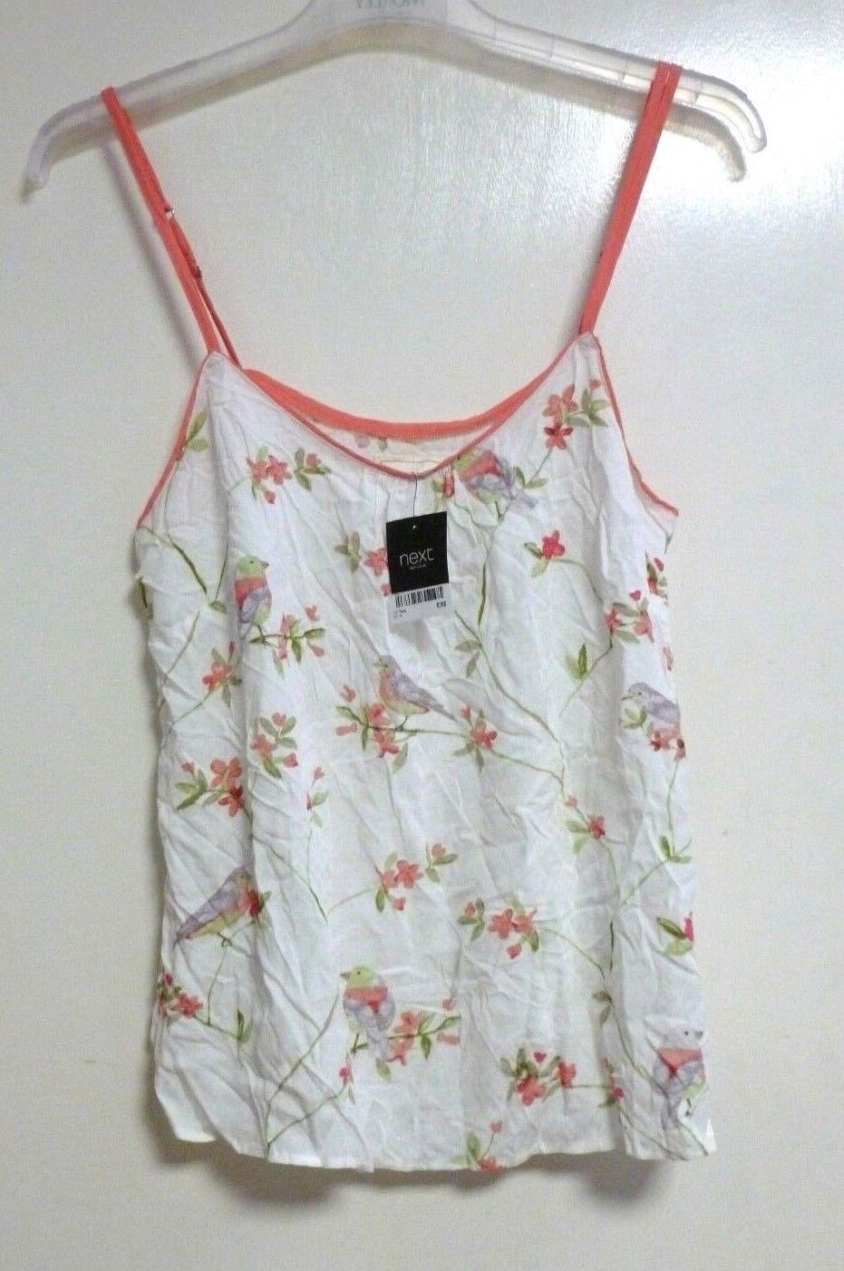 LADIES NEXT WHITE FLORAL PYJAMA VEST TOP SIZE 12R RRP  NEW CR180 DD 11