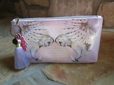 Pretty Owl Papaya Art Small Makeup Cosmetic Bag Vegan Friendly Lilac Tassel