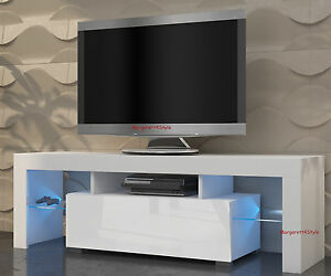 tv schrank lowboard sideboard mili 130 cm mit led glasregal r cklicht ebay. Black Bedroom Furniture Sets. Home Design Ideas