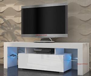 tv schrank lowboard sideboard mili 130 cm mit led glasregal r cklicht ebay. Black Bedroom Furniture Sets. Home Design Ideas