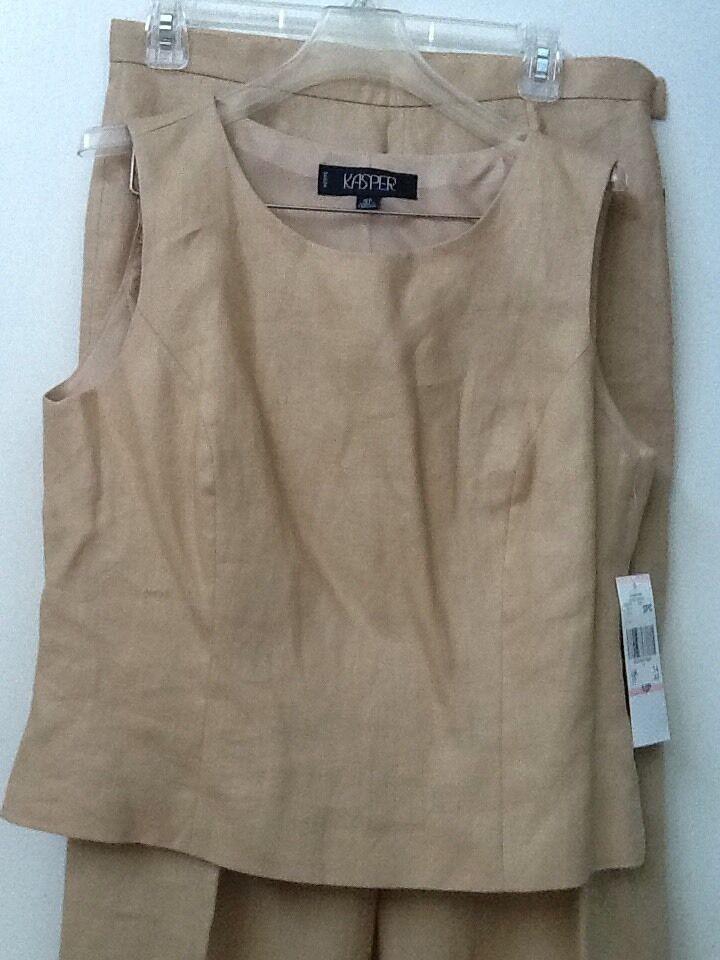KASPER Honey Tan Tan Tan LINEN Lined Blazer Pants Top 3 Pc SUIT SET