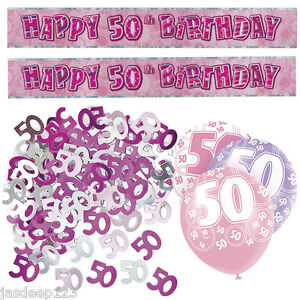 Image Is Loading Pink 50th Birthday Banner Party Decorations Pack Kit