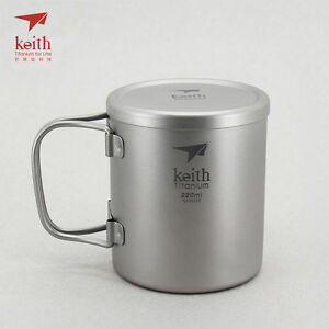 Keith titanium cup with double layers and lid Ti3302