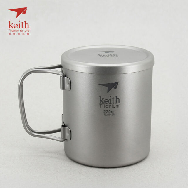 Keith Titanium Ti3204 Single-Wall Mug with Folding Handle and Lid 15.2 fl oz