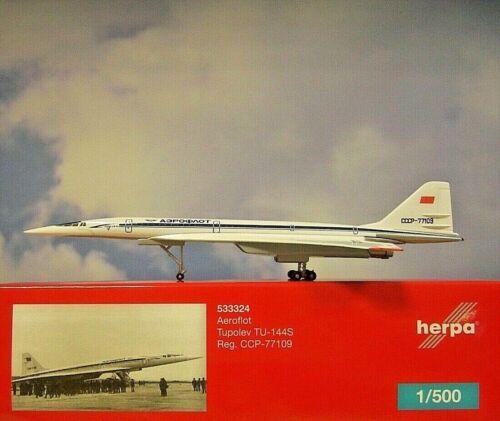 77109 533324 modellairport 500 Herpa Wings 1:500 tupolev tu-144s aeroflot CCCP