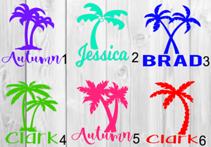Personalized Palm tree name Vinyl Decal 3inchx3inch B