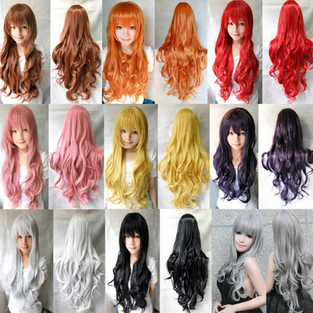Fashion Colors Long Curly Wavy Full Cosplay Band Wigs Costume/Anime/Party Wig