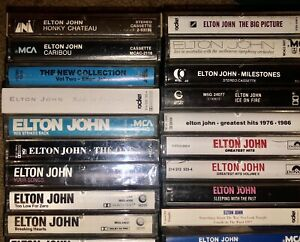 LOT OF 21 ELTON JOHN CASSETTE TAPES 3 PAPER LABELS 1 SEALED LOOK!!!
