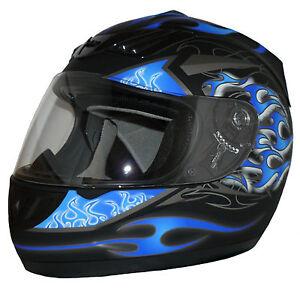 motorradhelm integralhelm schwarz matt blaue flammen h510. Black Bedroom Furniture Sets. Home Design Ideas