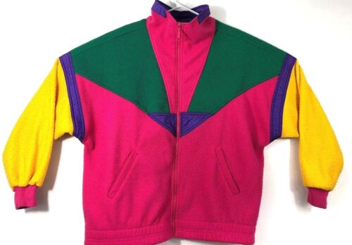 VIntage 90s Bright Colorblock Fleece Jacket Retro