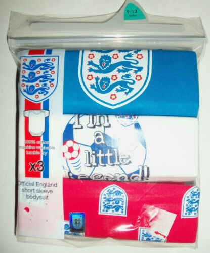3  Variety Pack Cotton White//Red//Blue Short Sleeved Bodysuits with England