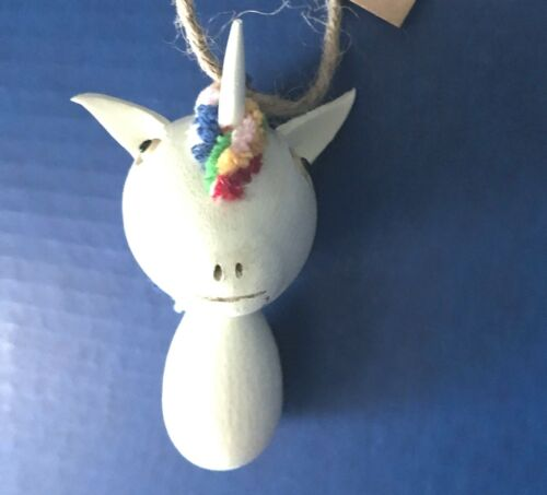 CRAZY HEAD Wooden Colorful UNICORN Christmas Ornament NWT New