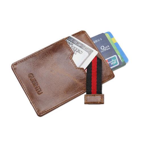 Minimalist Magic Front Pocket Wallet RFID Blocking Genuine Leather Mens Slim