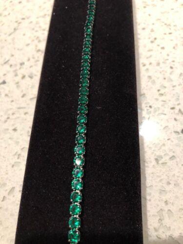 "10 ct Emerald Tennis Bracelet 6.5"" 1 Row perfect 14K White Gold finish"