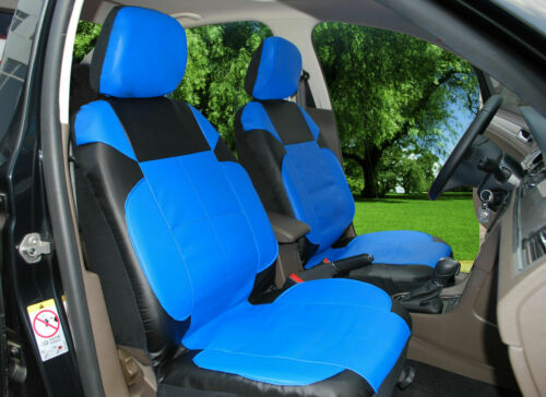 2 front car seat covers PU leather compatible to Chrysler #15309 Black blue