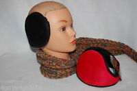 Ear Muffs Two Pair Lot Flat Ear Warmers Faux Fur Inside Soft Outer Black Red