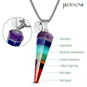 Pack of 2 Lapis Lazuli Red Jasper Reiki Natural Stone Necklace Pendants