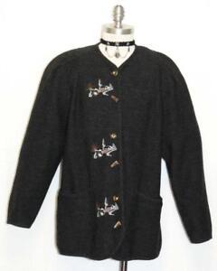 donna lana Black B44 Woman nero Wool German Boiled Jacket da tedesca Giacca donna cotta Church Sweater Embroidered B44 di Maglione ricamata YgnvqqE