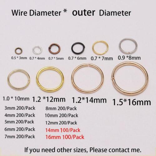 3-16mm Metal Open Jump Rings Split Rings Connectors For DIY Jewelry Making
