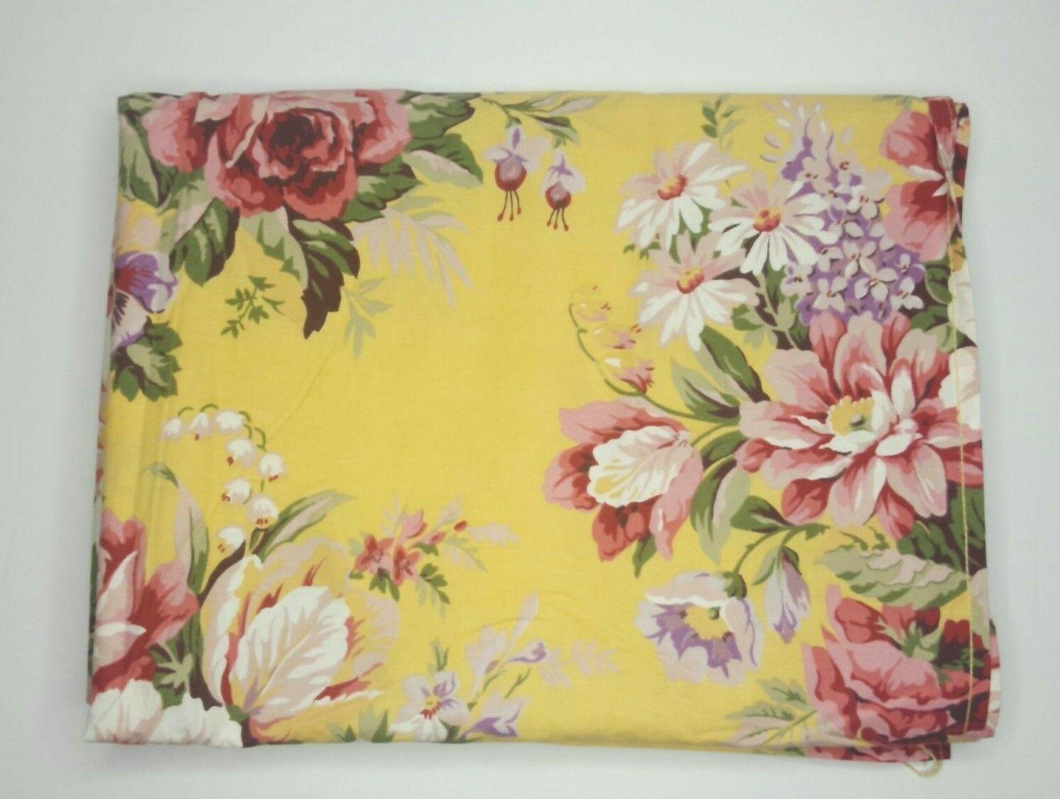 Vintage Ralph Lauren Bed Sheet Twin Size Kathleen Floral Yellow