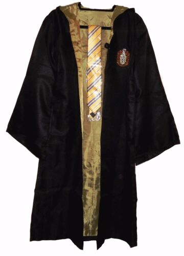 Harry Potter Hufflepuff School Crest Adult Size ROBE w//Hood and Tie