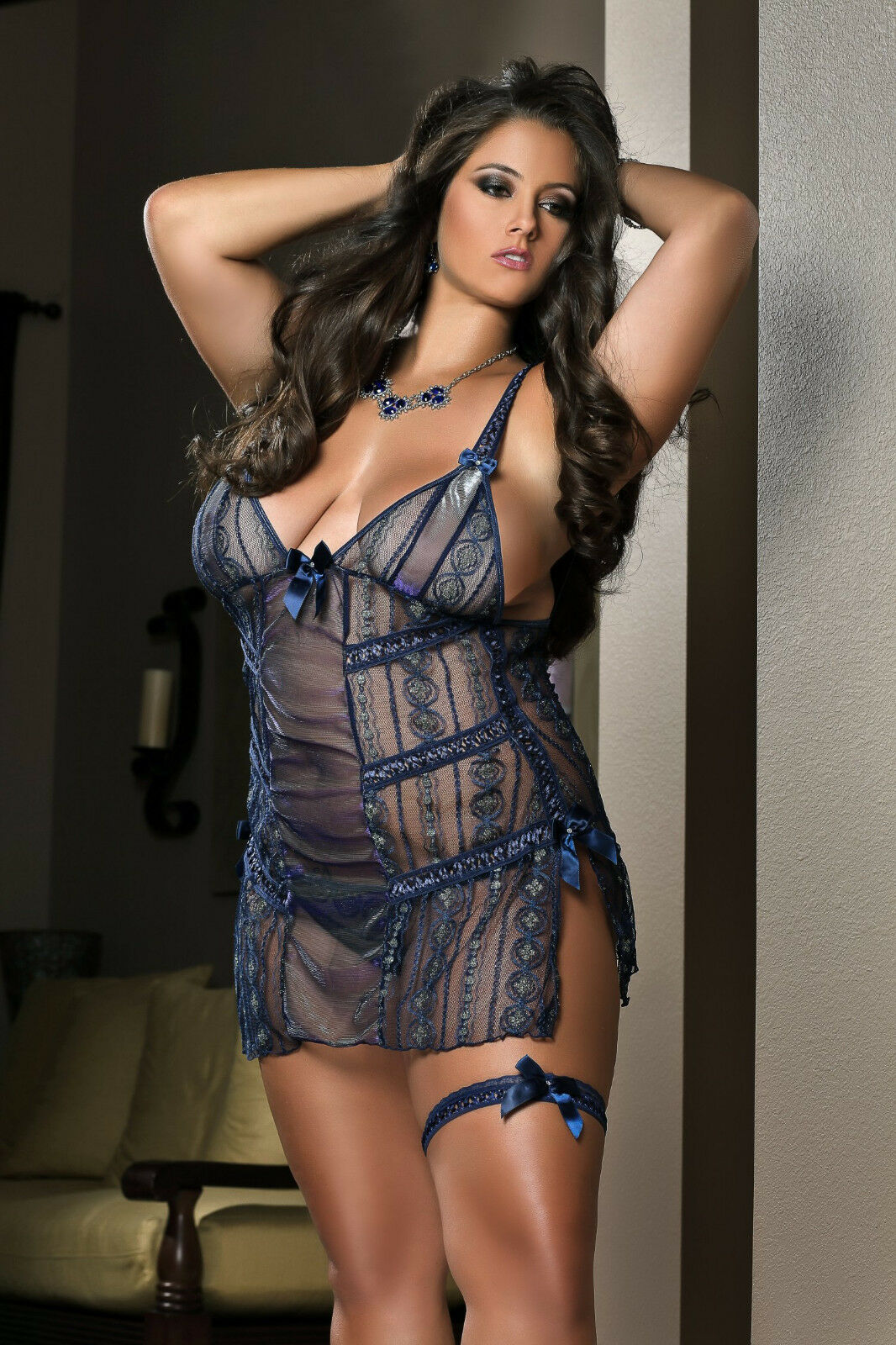 Sexy Sheer Laced Night bluee Babydoll with Thong & Garter. Plus Sizes