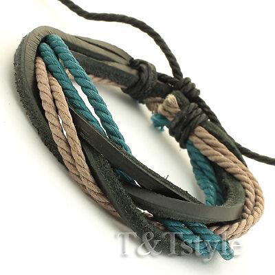 STYLISH T/&T Leather Bracelet Wristband NEW
