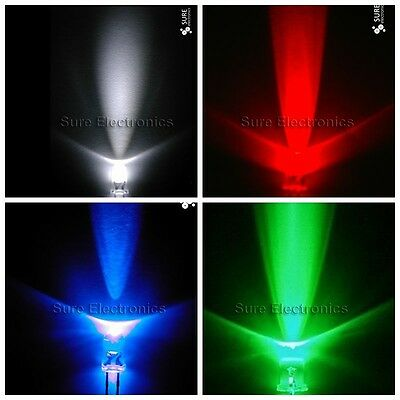 Lot 10mm round white red blue green yellow orange LED lamp light 2pin for DIY