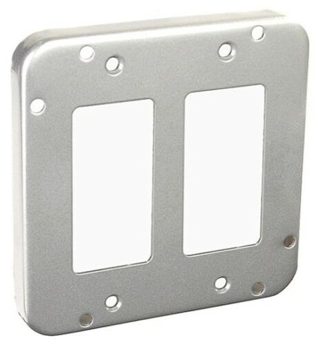 "*NEW* 4-11//16/"" Square Cover 2 GFCI// Decorator 1//2/"" Raised Gray Industrial 5 pc"