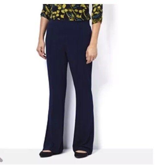 Kim & Co Silky Brazil Knit Pin Tuck Fit Flarot Trousers Petite Length DG15RN