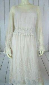 Pinky-Dress-L-Beige-Nylon-Cotton-Embroidered-Lace-Crochet-Waist-Slip-Romantic