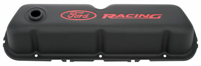 Proform Engine Valve Cover Set 302-072; Race-Series Black Steel for Ford 302//351