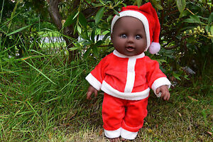 "12"" Afro Noir Interactive Talking Baby Boy Santa De Noël Poupée Real Life Looking-afficher Le Titre D'origine"