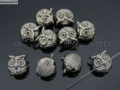 Solid Metal Cute Owl Bracelet Connector Charm Beads Silver Gunmetal Rose Gold