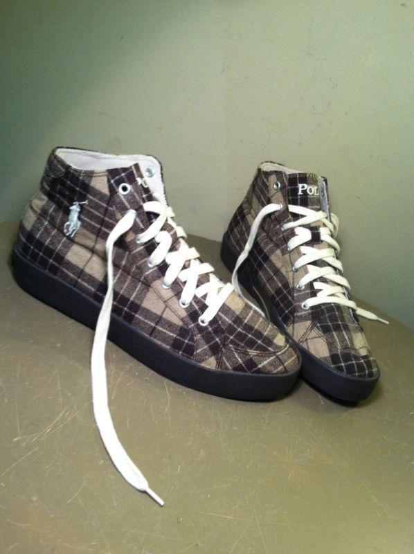 Polo Ralph Lauren Braun Tan Flannel Plaid Hi Top Pony Tennis Schuhes Größe 9.5 D