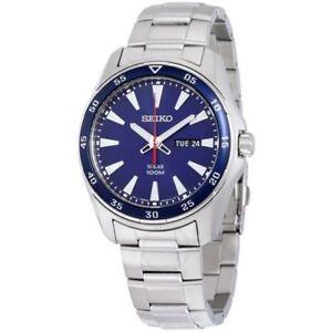 Seiko-Solar-Men-039-s-Blue-Dial-Chronograph-Silver-Tone-Watch-SNE391