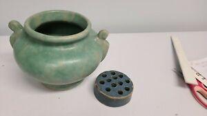 Vintage Brush McCoy Pottery Vase Arts and Crafts Matte Green Slip + Pottery Frog