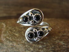 Navajo Indian Jewelry Sterling Silver Onyx Adjustable Ring! Belin