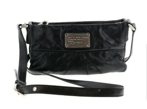 Marc-Jacobs-Classic-Small-Black-Leather-Silver-Zip-Closure-Crossbody-Bag-9-034-x-5-034
