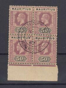 Mauritius-KGV-1913-22-50c-Block-Of-4-SG200-Superb-CDS-J7226