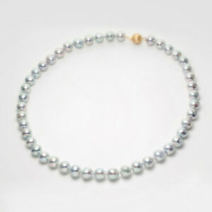 Natural-Blue-Rose-Japanese-Akoya-Pearl-Strand-Necklace-14K-Yellow-Gold-8-5-9mm