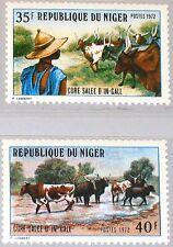 NIGER 1972 341-42 255-56 Salt Cure for Cattle Salzteiche für Rinder In-Gall MNH